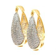 Brinco Semijoia Argola Namur Cravejado Zircônias Diamond Folheado Ouro 18k BR032