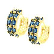Brinco Semijoia Argola Oslo Zircônias Blue Topaz Folheado Ouro 18k BR176