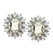 Brinco Semijoia Duchess Zircônias Diamond Champagne Folheado Ródio BR185