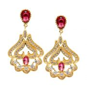 Brinco Semijoia Jaipur Cristal Rubi Cravejado Zircônias Diamond Folheado Ouro 18k BR017