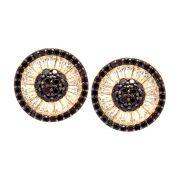 Brinco Semijoia Mandala Cravejado Zircônias Diamond e Black Folheado Ouro 18k BR010