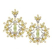 Brinco Semijoia Manipur Cristal Topázio Lemon Cravejado Zircônias Diamond Folheado Ouro 18k BR028