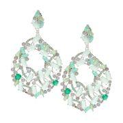 Brinco Semijoia Multicolor Jade Cravejado Zircônias Diamond Folheado Prata BR046