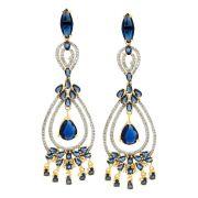 Brinco Semijoia Taj Cristal Safira Azul Cravejado Zircônias Diamond Folheado Ouro 18k BR024