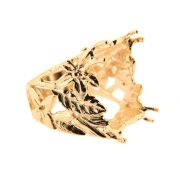 Caixa Anel Flores regulável Baguete 13x18mm folheado em Ouro 18k CXBA1318-10