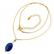 Colar Corrente Mini Veneziana com Pingente Oval de Lápis lazuli e Ponto de Luz CLPM-15