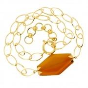Colar Corrente Navete e Pingente Balonê de Ágata Cornalina Folheado em Ouro CLPM-74