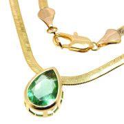 Colar Cristal Verde Atlantis Folheado Ouro 18k CLPM-164