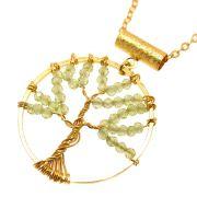 Colar Semijoia Árvore da Felicidade Peridoto Folheado Ouro 18k CLPM-176