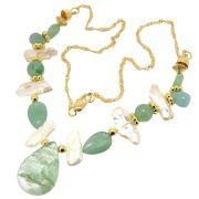 Colar Semijoia Pérolas - Quartzo Verde - Amazonita e Cristal Folheado Ouro 18k CLPM-182