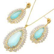 Conjunto Semijoia Jaipur Folheado Ouro 18kCJPM-19