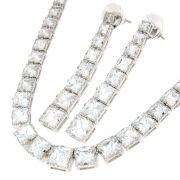 Conjunto Semijoia Rebeca Zircônias Diamond Folheado Ródio CJ004