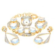 Conjunto Semijoia Versalhes Cristal Cravejado Zircônias Folheado Ouro 18k CJ010