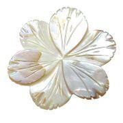 Flor Beijo-pintado Esculpido Madrepérola Branca Mesclada Furo Centro 42mm CAMAD-184