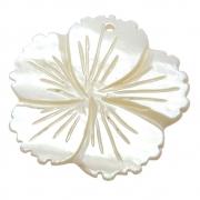 Flor Hibisco Esculpida Madrepérola Branca Furo Topo Frontal 35mm CAMAD-202