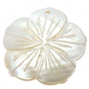Flor Hibisco Esculpida Madrepérola Branca Furo Topo Frontal 35mm CAMAD-204