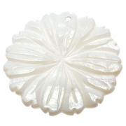 Flor Margarida Esculpida Madrepérola Branca Furo Topo Frontal 35mm CAMAD-203