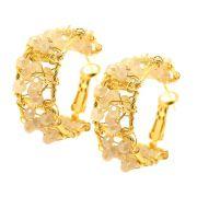 Kit Brinco Argola Semijoia Cristais Nude Folheado Ouro 18k KITBRPM-500