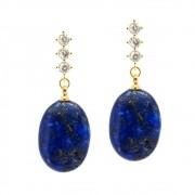Kit Brinco Semijoia Lápis lazuli Folheado Ouro 18k KITBRPM-629