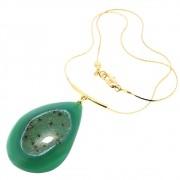 Kit Colar Semijoia Geodo de Ágata Verde Folheado Ouro 18k KITCLPM-228