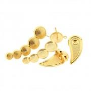 Par Brinco Ear Cuff Círculo com Argola Folheado Ouro 18k OF-BP353