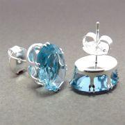 Par Brinco Semijoia Cristal Água Marinha Folheado Prata BRPM-517