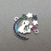 Pingente Amor de Mãe Cravejado Zircônias Multicolor Folheado Prata PF-PIN539