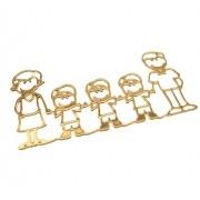 Pingente casal e 3 filhos Folheado Ouro 18k OF-PIN276