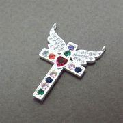 Pingente Crucifixo Alado Cravejado Zircônias Multicolor Folheado Prata PF-PIN536