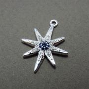 Pingente Estrela Polar Cravejado Zircônias Safira Folheado Prata PF-PIN541