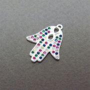 Pingente Mão de Fáima Cravejado Zircônias Multicolor Folheado Prata PF-PIN537