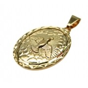 Pingente medalha Espírito Santo Folheado Ouro OF-PIN304