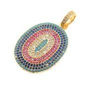 Pingente Oval Luxor Cravejado Zircônias Multicolor Folheado Ouro 18k OF-PIN538