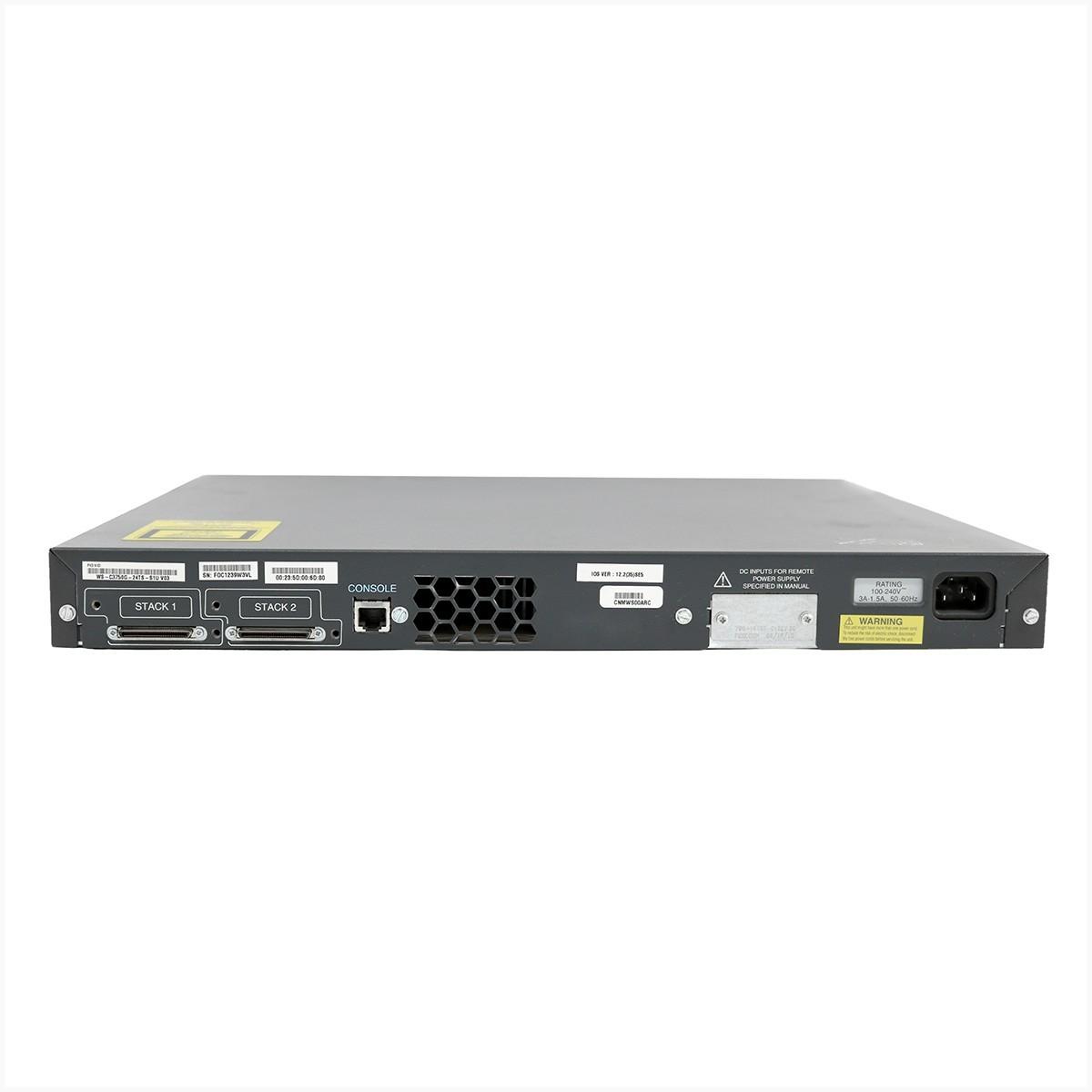 Switch cisco ws-c3750g-24ts 24 portas gigabit - usado