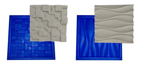 Kit 2 Formas Borracha Com Plastico Para Placas Gesso 3d