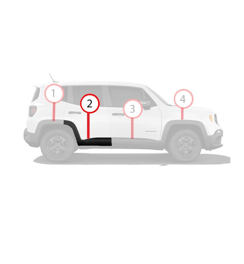 Aplique Moldura Friso Acabamento Alargador da Porta Traseira Lado Esquerdo Jeep Renegade 2015 2016 2017 2018 2019 2020