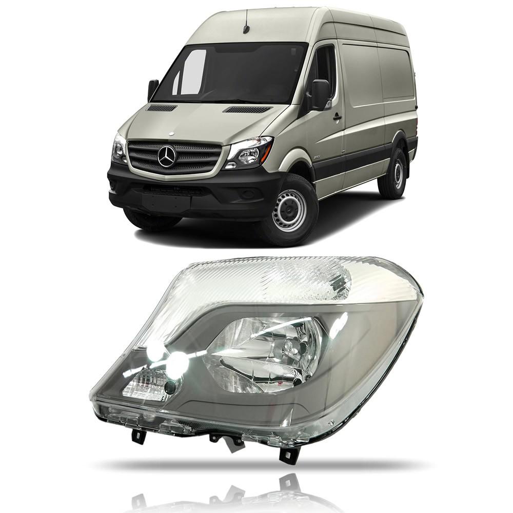 Farol Máscara Negra com Auxiliar Lado Esquerdo Mercedes Benz Sprinter 2016 2017 2018 2019 2020