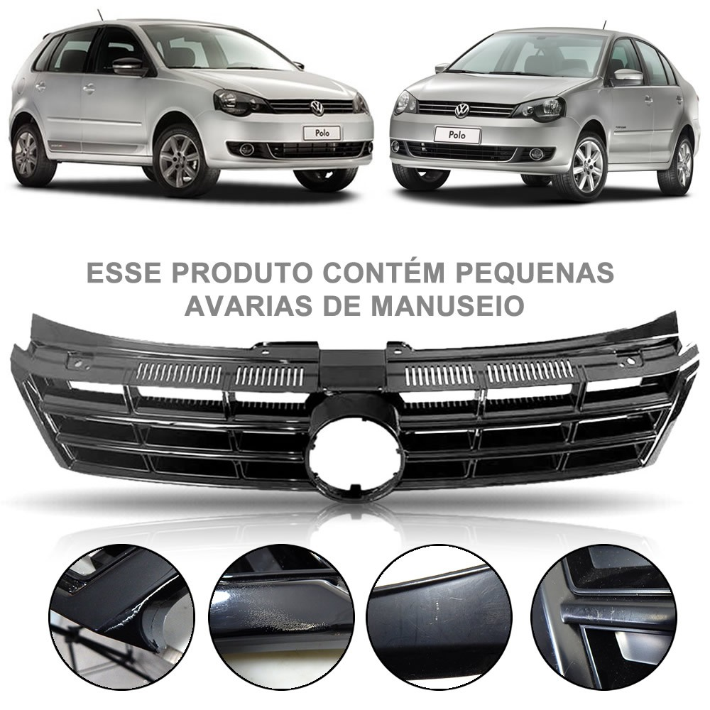 Grade Dianteira Lisa Volkswagen Polo 2012 2013 2014 2015 2016 (Item com Encaixe para Frisos)