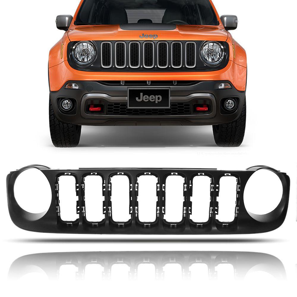 Grade Dianteira Preta Jeep Renegade 2016 2017