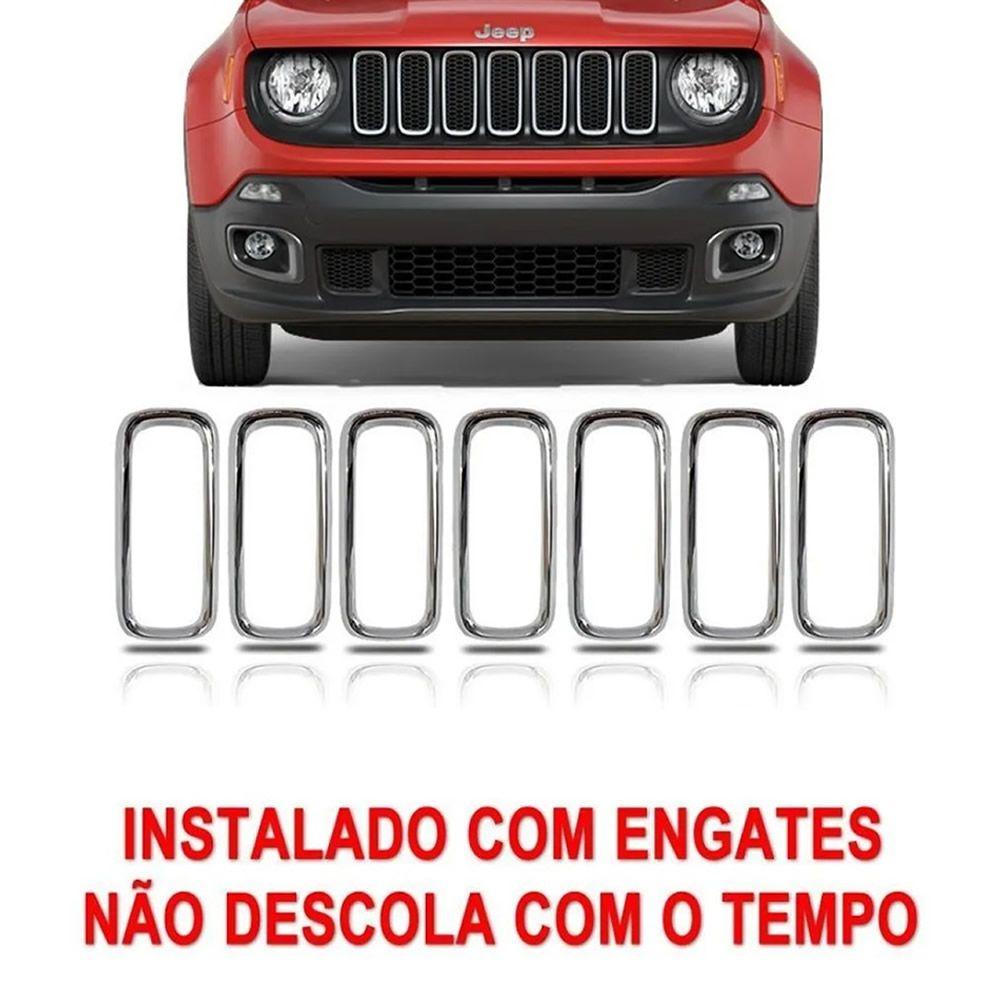 Grade Moldura Friso Aplique Cromada Jeep Renegade 2015 2016 2017 2018 Kit 7 unidades