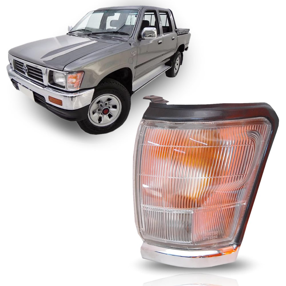 Pisca Seta Dianteiro Moldura Cromada Lado Esquerdo Toyota Hilux 1992 1993 1994 1995 1996 1997 1998