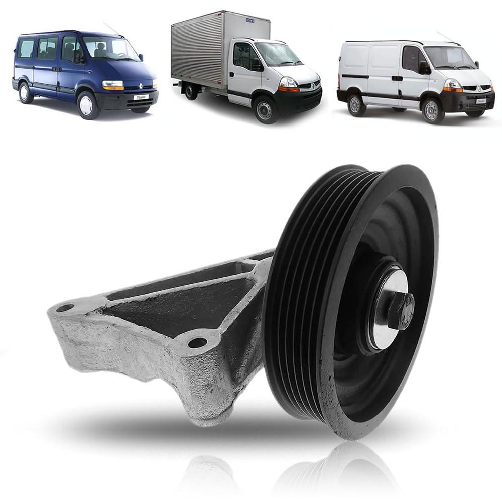 Polia do Compressor S/ Ar Com Suporte Renault Master 2.5 16v 2005 2006 2007 2008 2009 2010 2011 2012 2013