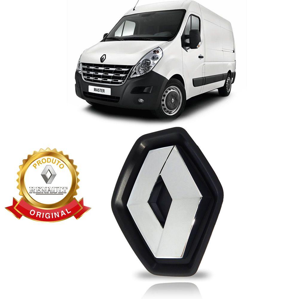 Suporte com Emblema da Grade Dianteira Renault Master 2.3 2014 2015 2016 2017 2018 2019