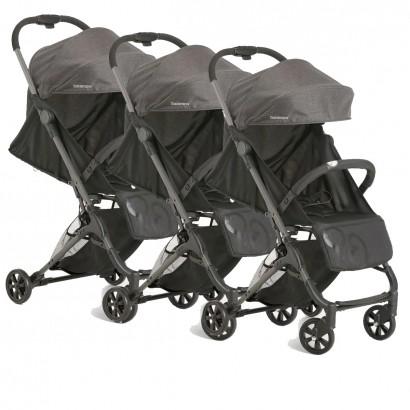 3 Carrinhos Bebê Galzerano Berço Passeio Encosto Regulável Peso 0 até 15 kg Duolee Preto