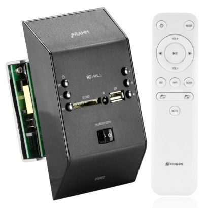 Amplificador Som Ambiente de Parede Frahm RD Wall Preto Bluetooth Usb Sd Card