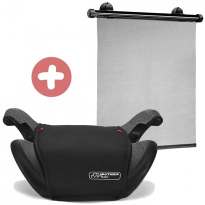 Assento Booster Bebe Criança de 22/36 Kg Auto Lift Multikids Baby Preto + Protetor Solar Retrátil c/ Ventosa Multikids