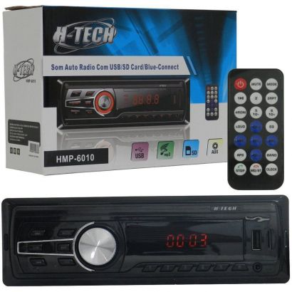 AUTO RADIO H TECH USB/SD/AUX/BLUETOOTH 4X15W 3 CORES - HMP-6010
