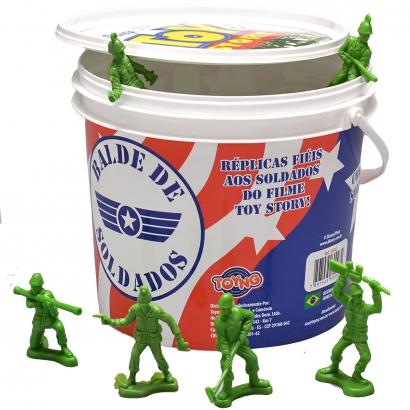 Balde De Soldadinhos Toy Story Plástico 60 Unidades Iguais dos Filmes A partir de 3 Anos Disney Pixar Toyng