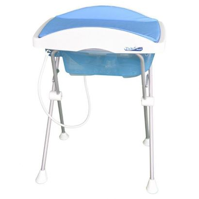 Banheira Banho Bebê Burigotto Tchibum Azul Com Suporte e Trocador
