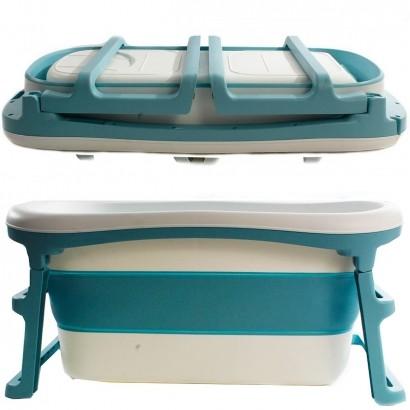 Banheira de Adulto e Bebê Luxo Dobrável com 180 Litros A Partir de 10 meses a 80kg Azul - Kababy